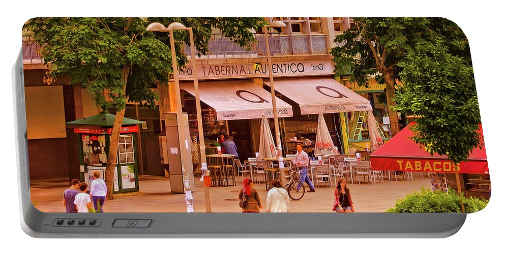 Plaza Portable Battery Charger featuring the photograph The Tavern On The Plaza - Spain by Mary Machare
