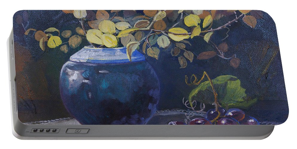 Still Life Portable Battery Charger featuring the painting The Teal Vase by Heather Coen