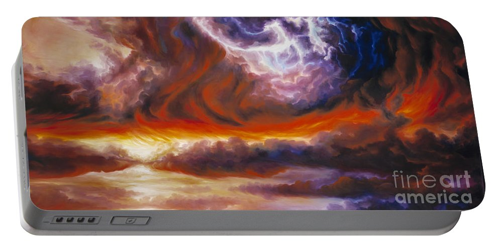 Tempest Portable Battery Charger featuring the painting The Tempest by James Christopher Hill