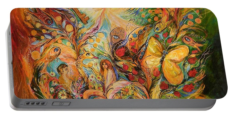 Original Portable Battery Charger featuring the painting The Temptation Of Adam by Elena Kotliarker