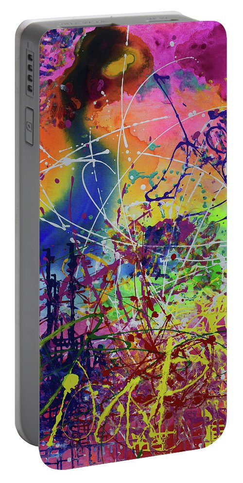 Painting Portable Battery Charger featuring the painting The Tern And The Treat by Aatmica Ojha