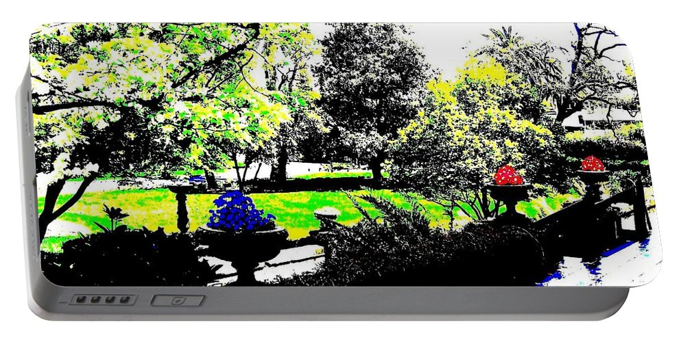 Terrace Portable Battery Charger featuring the digital art The Terrace by Will Borden