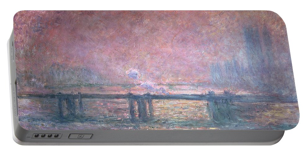 Monet Portable Battery Charger featuring the painting The Thames At Charing Cross by Claude Monet