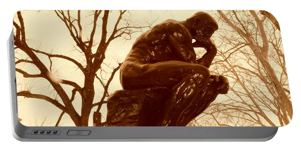 Rodin Portable Battery Charger featuring the photograph The Thinker by Bill Cannon