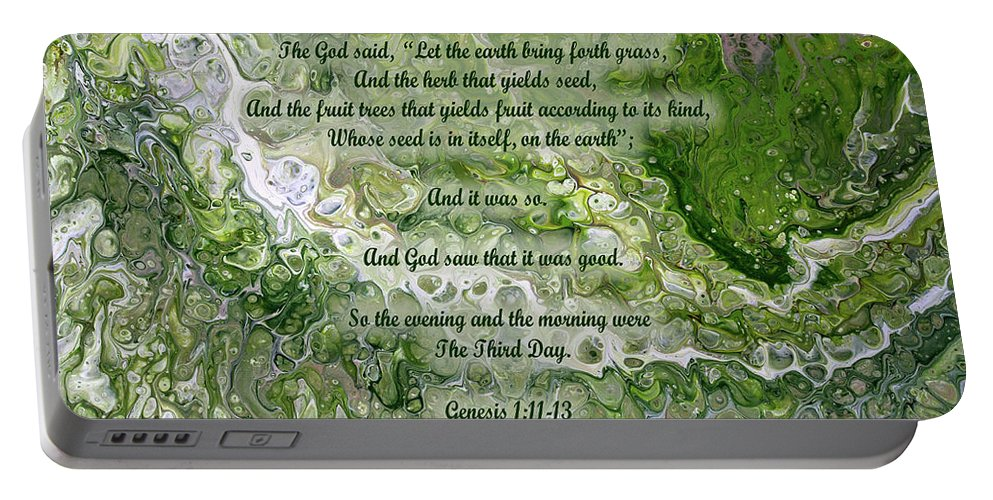 Christian Portable Battery Charger featuring the painting The Third Day With Scripture by Vicki Hawkins