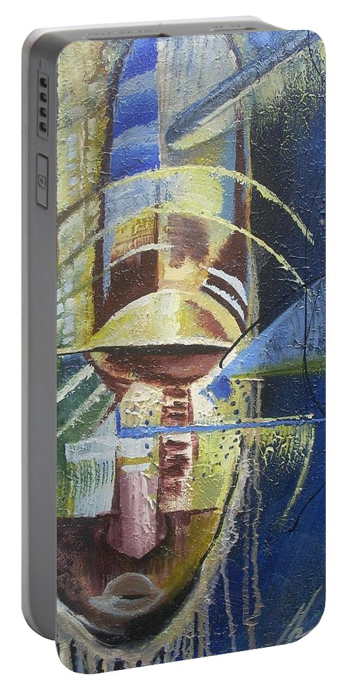 African American Portable Battery Charger featuring the painting The Third Eye by Hasaan Kirkland