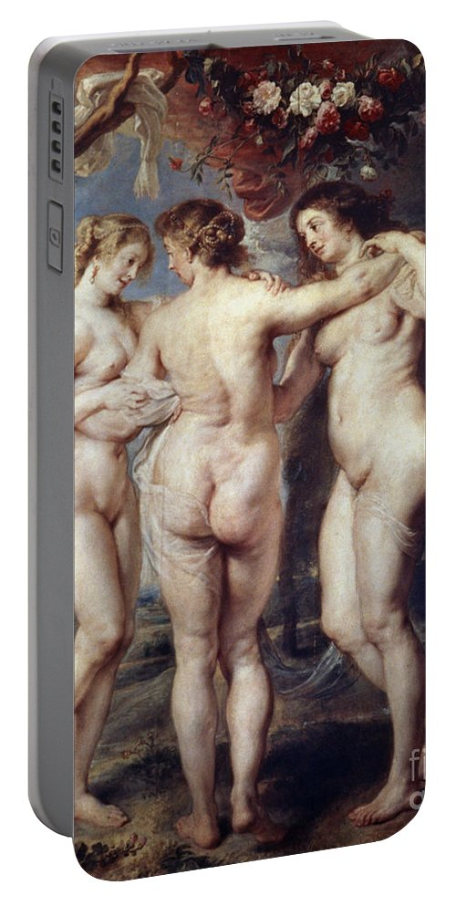 1639 Portable Battery Charger featuring the painting The Three Graces by Granger