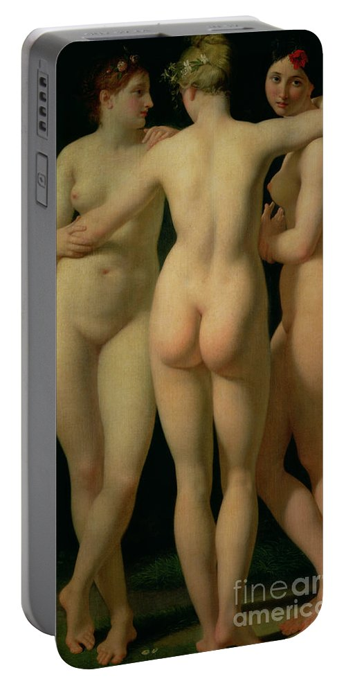 Nude Portable Battery Charger featuring the painting The Three Graces by Jean Baptiste Regnault