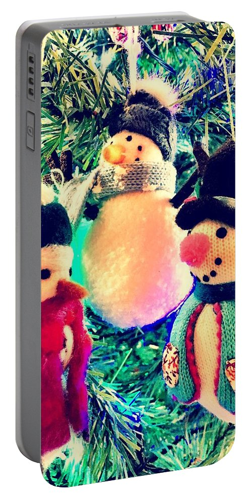 Snowmen Portable Battery Charger featuring the digital art The Three Snowmen by Mo Barton