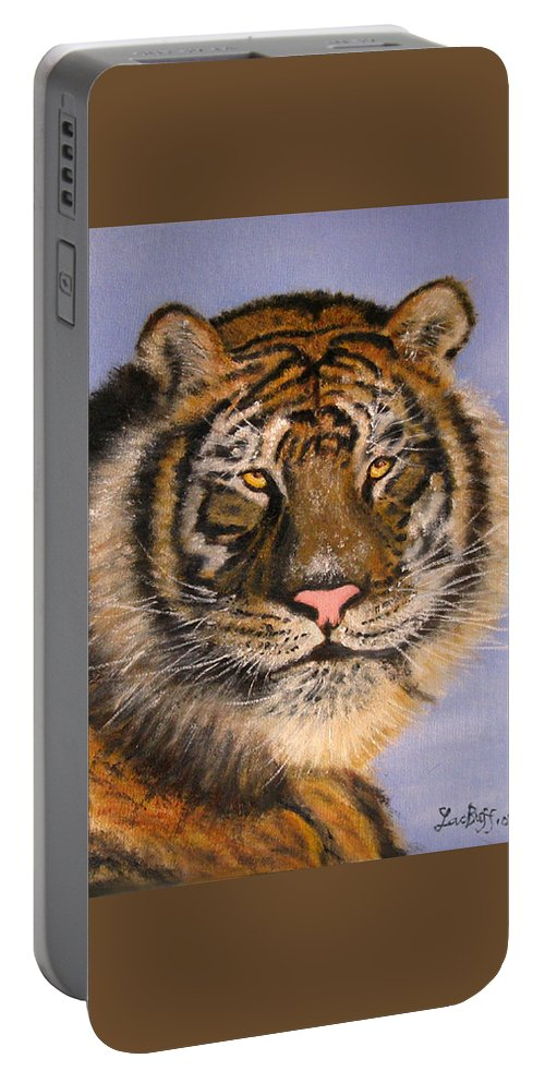 Animals Portable Battery Charger featuring the painting The Tiger, 16x20, Oil, '08 by Lac Buffamonti