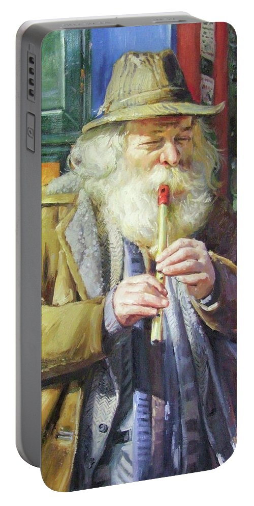 Traditional Music Portable Battery Charger featuring the painting The Tin Whistle by Conor McGuire