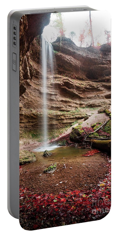 Autumn Portable Battery Charger featuring the photograph The Tiny Waterfall by Hannes Cmarits