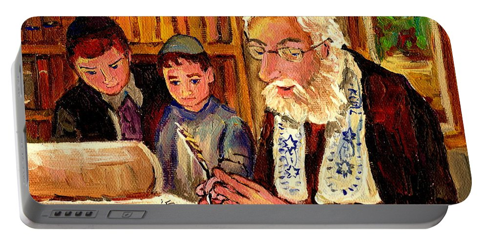 Torah Portable Battery Charger featuring the painting The Torah Scribe by Carole Spandau
