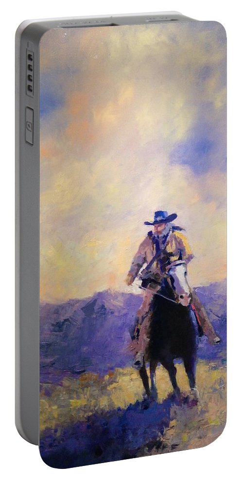 Horse Cowboy Portable Battery Charger featuring the painting The Tracker by R W Carlson
