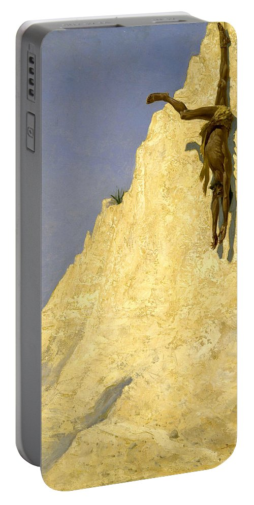 Cliff Portable Battery Charger featuring the painting The Transgressor by Frederic Sackrider Remington