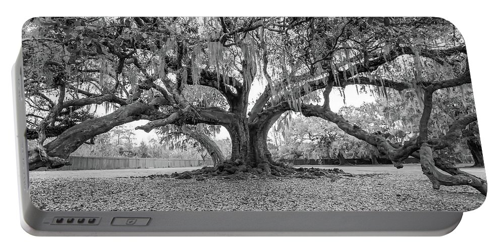 New Orleans Portable Battery Charger featuring the photograph The Tree Of Life Monochrome by Steve Harrington
