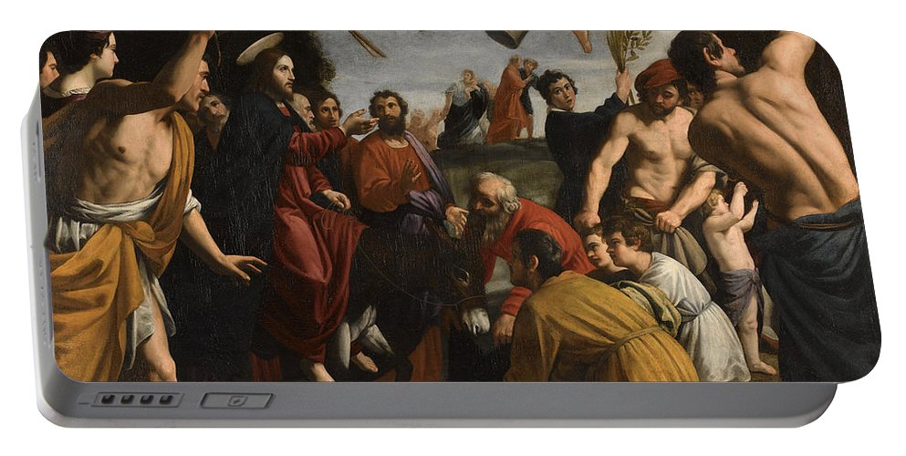 Alessandro Turchi Portable Battery Charger featuring the painting The Triumphal Entry Of Christ In Jerusalem by Alessandro Turchi