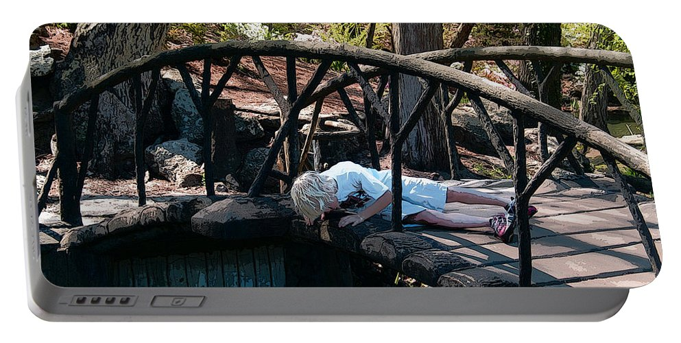 Susan Vineyard Portable Battery Charger featuring the photograph The Troll Under The Bridge by Susan Vineyard