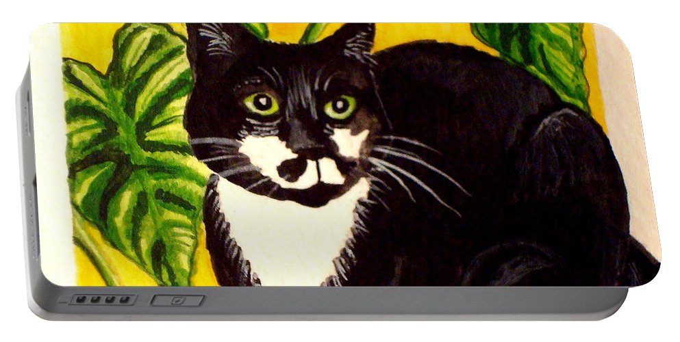 Watercolor Portable Battery Charger featuring the painting The Tropical Cat by Elizabeth Robinette Tyndall