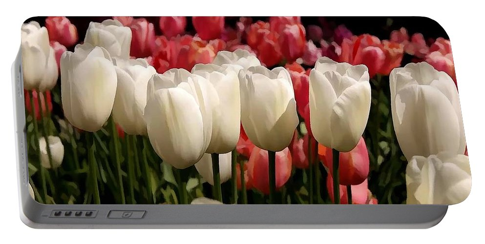 The Tulip Bloom Portable Battery Charger featuring the painting The Tulip Bloom by Jeelan Clark