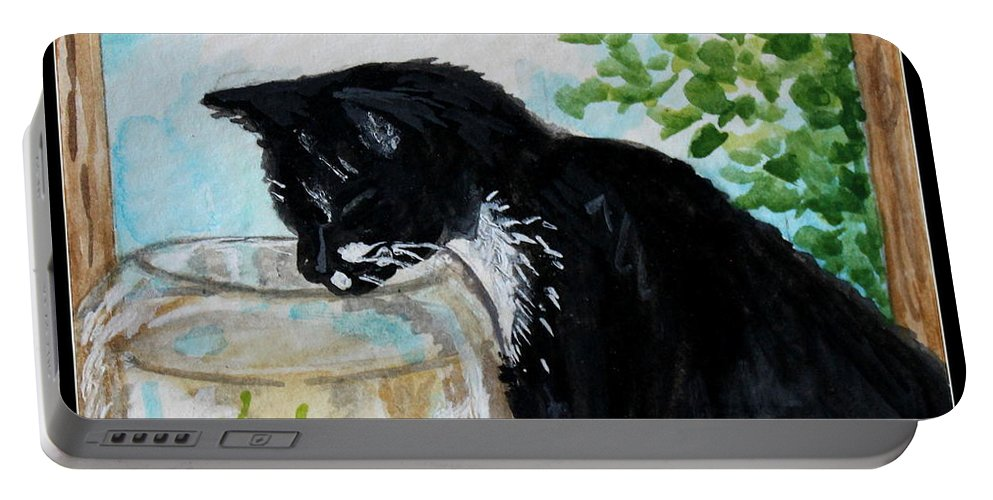 Cats Portable Battery Charger featuring the painting The Tuxedo Cat And The Fish Bowl by Elizabeth Robinette Tyndall