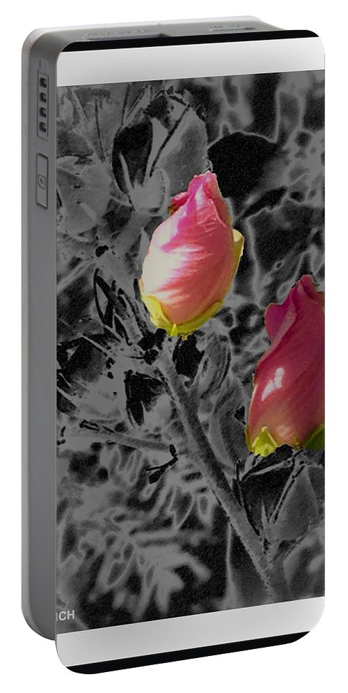 Rose-of-sharon Portable Battery Charger featuring the mixed media The Two Of Us by Debra Lynch