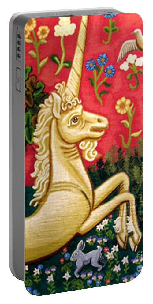 Unicorn Portable Battery Charger featuring the painting The Unicorn by Genevieve Esson