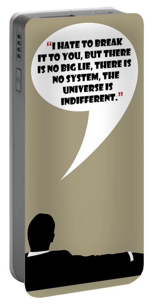 Don Draper Portable Battery Charger featuring the painting The Universe Is Indifferent - Mad Men Poster Don Draper Quote by Beautify My Walls