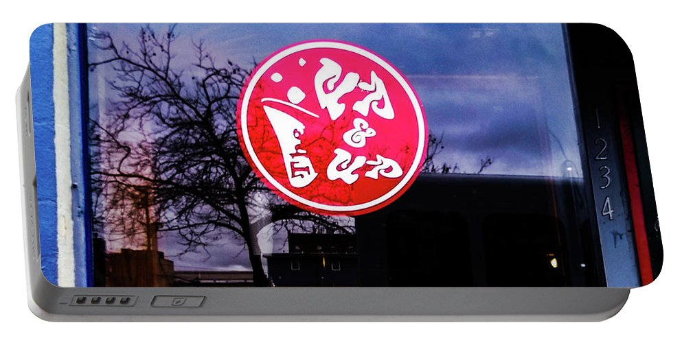Signs Blue Red Street Sign Portable Battery Charger featuring the photograph The Up And Up by Loretta Bueno