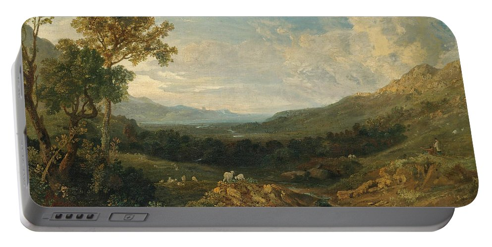 Anthony Vandyke Copley Fielding Portable Battery Charger featuring the painting The Valley Of The Clyde by Anthony Vandyke Copley Fielding