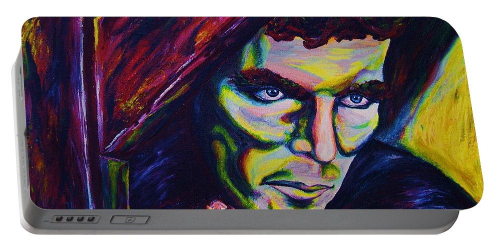 Portraits Portable Battery Charger featuring the painting The Vampire Lestat by Carole Spandau