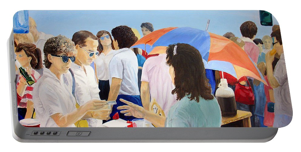 People Portable Battery Charger featuring the painting The Vendor by Steve Karol