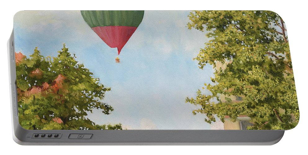 Sky Portable Battery Charger featuring the painting The View From The Window by Oleg Konin