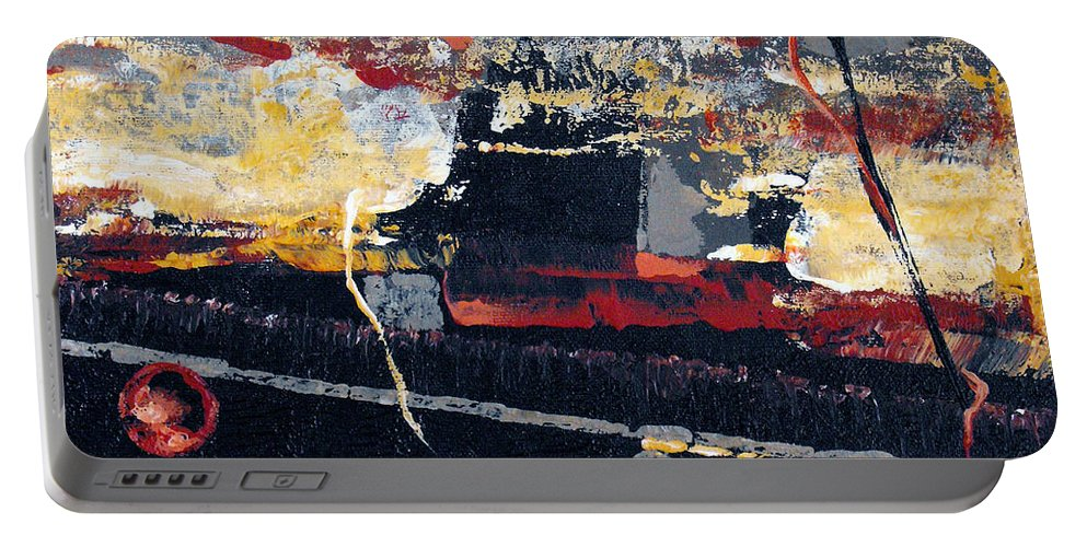 Abstract Portable Battery Charger featuring the painting The View by Ruth Palmer