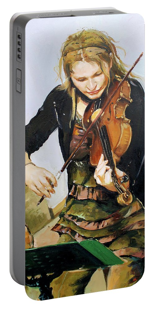 Girl Playing Violin Portable Battery Charger featuring the painting The Violinist by Conor McGuire