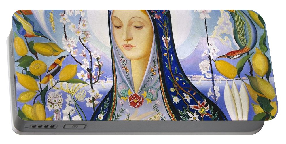 Beautiful Portable Battery Charger featuring the painting The Virgin, Joseph Stella by Joseph Stella
