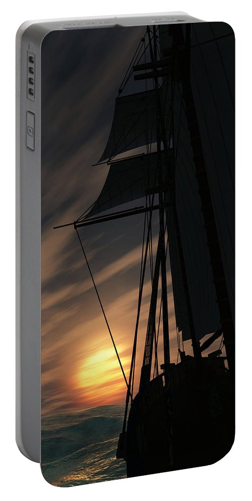 Ships Portable Battery Charger featuring the digital art The Voyage Home by Richard Rizzo
