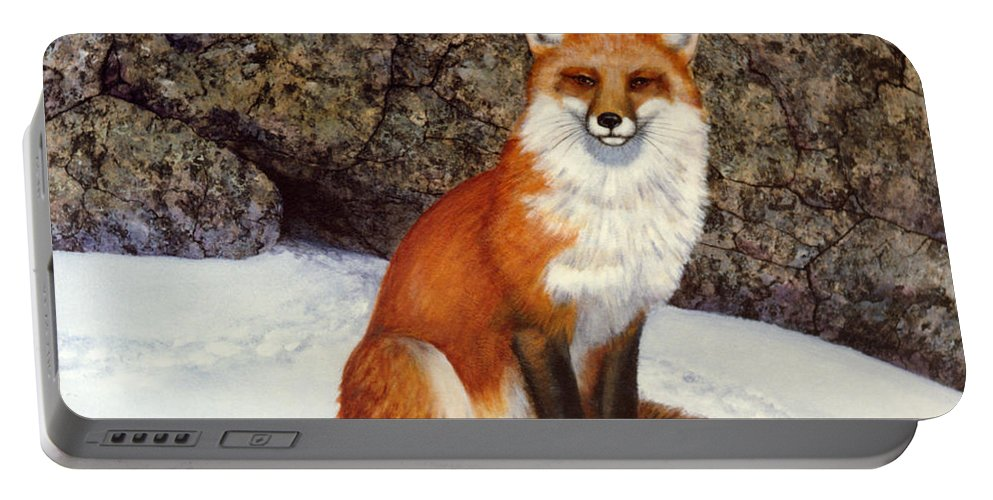 Wildlife Portable Battery Charger featuring the painting The Wait Red Fox by Frank Wilson