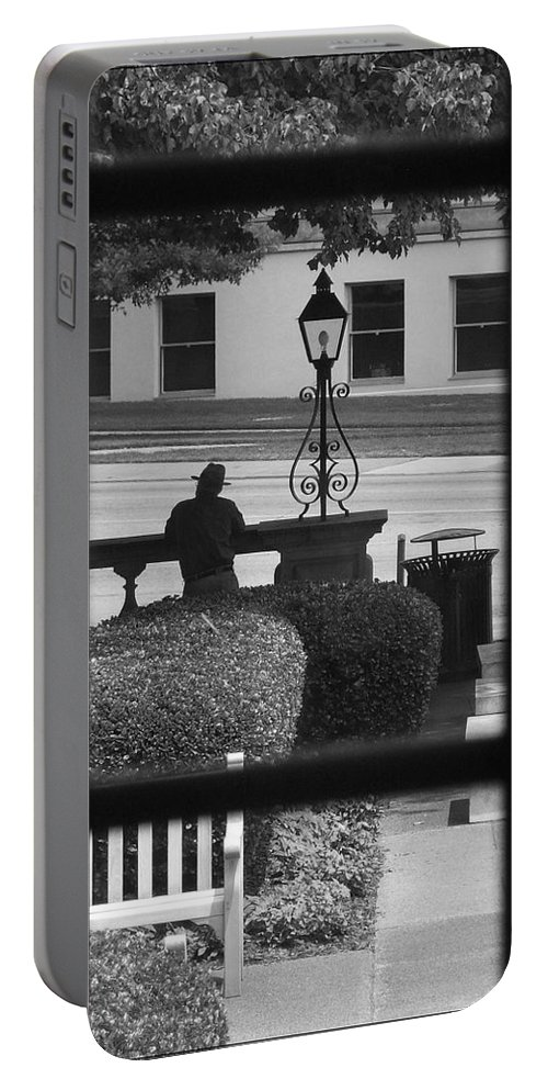 Black And White Portable Battery Charger featuring the photograph The Waiting Room by Robert Meanor