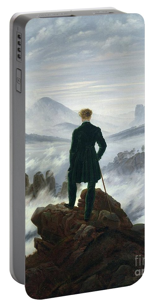 The Portable Battery Charger featuring the painting The Wanderer Above The Sea Of Fog by Caspar David Friedrich