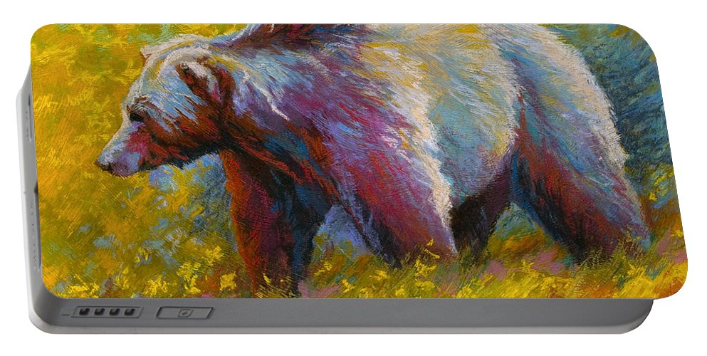 Western Portable Battery Charger featuring the painting The Wandering One - Grizzly Bear by Marion Rose