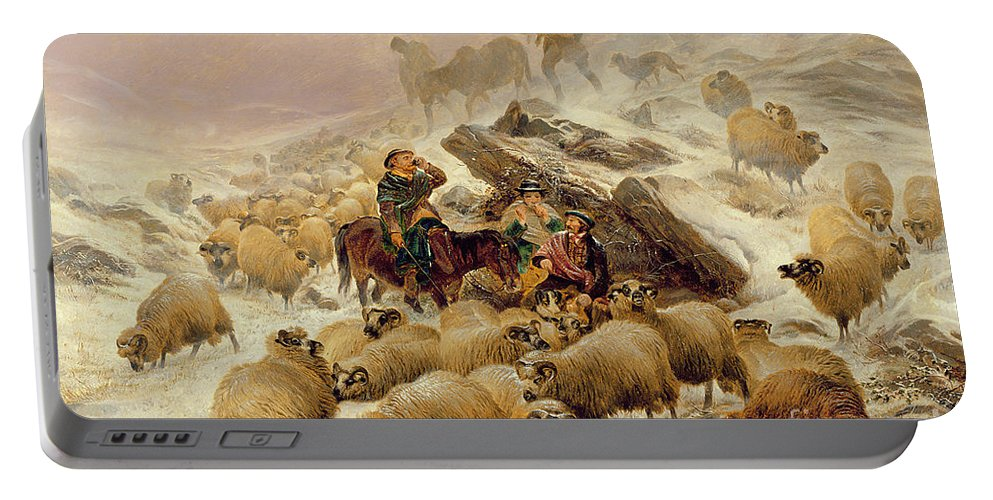Sheep Portable Battery Charger featuring the painting The Warmth Of A Wee Dram by TS Cooper