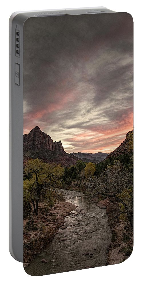 Watchman Portable Battery Charger featuring the photograph The Watchman Sunset by Erika Fawcett