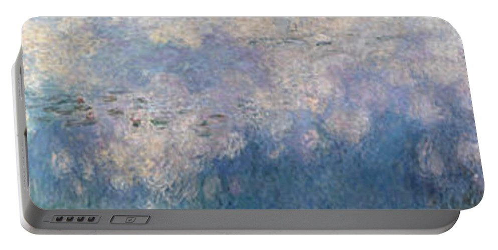 Claude Monet Portable Battery Charger featuring the painting The Water Lilies, The Clouds by Claude Monet
