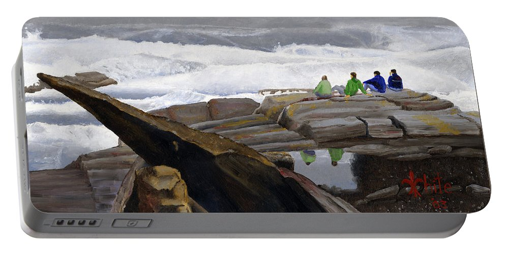 Waves Portable Battery Charger featuring the painting The Wave Watchers by Dominic White