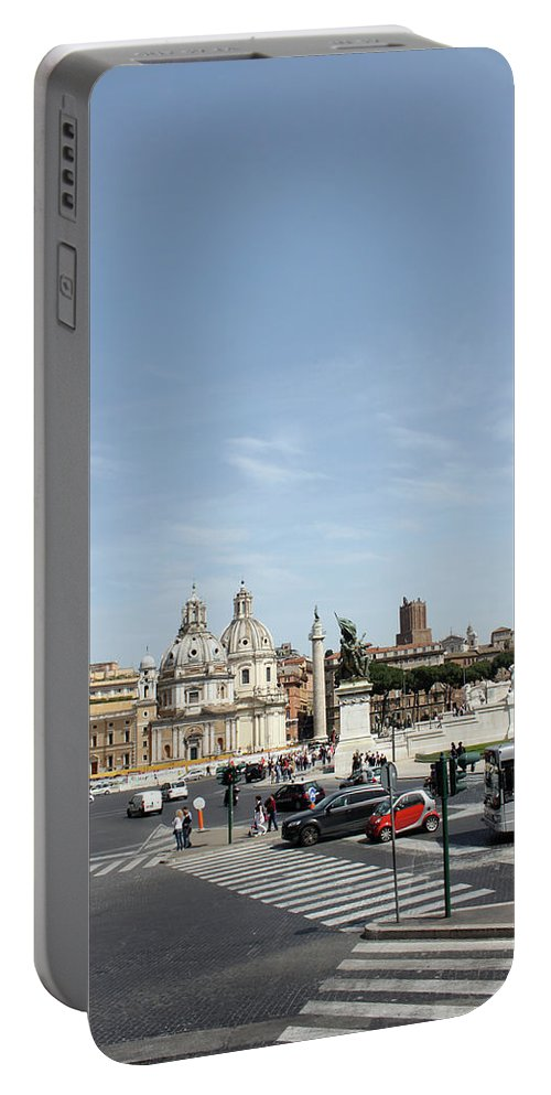 Church Portable Battery Charger featuring the photograph The Way To Piazza Venezia by Munir Alawi