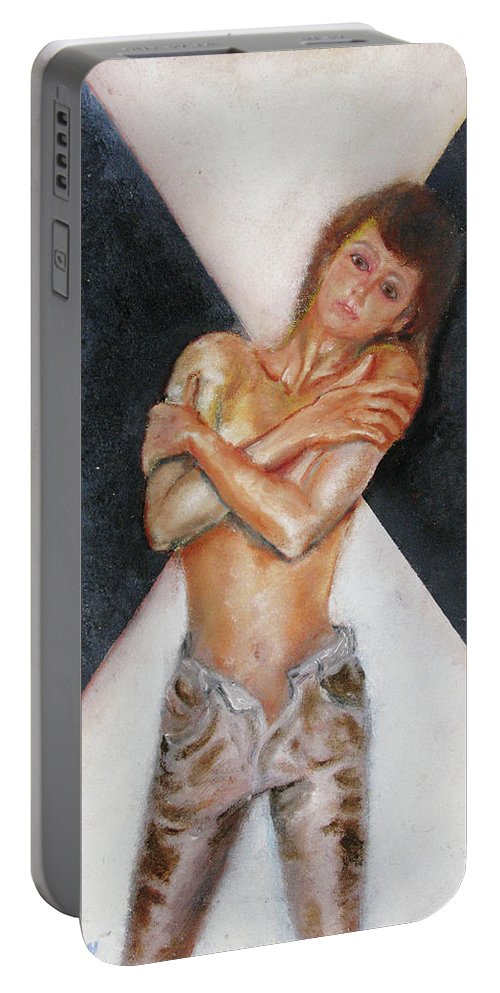 Females Portable Battery Charger featuring the painting The Way You Make Me Feel by Tom Conway