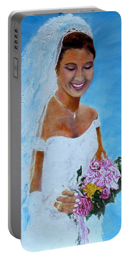 Wedding Portable Battery Charger featuring the painting the wedding day of my daughter Daniela by Helmut Rottler