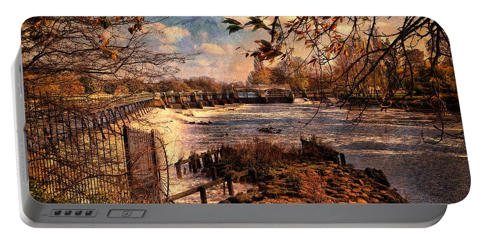 Weir Portable Battery Charger featuring the digital art The Weir At Teddington by Leigh Kemp