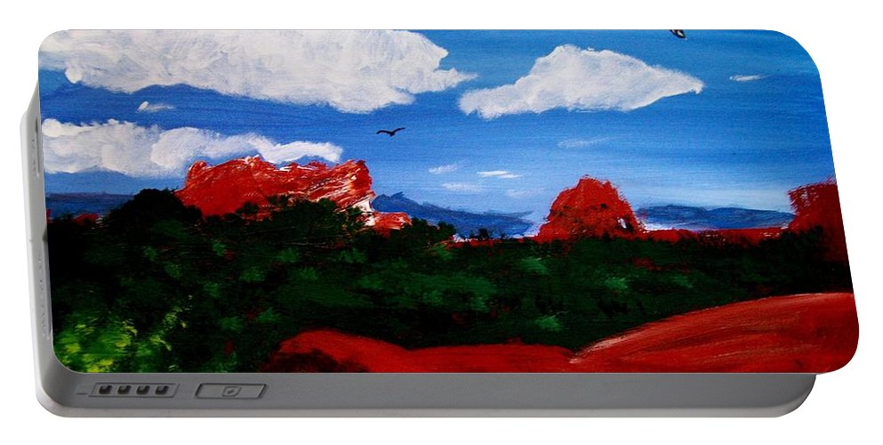 Acrylic Portable Battery Charger featuring the painting The West by Michael Grubb